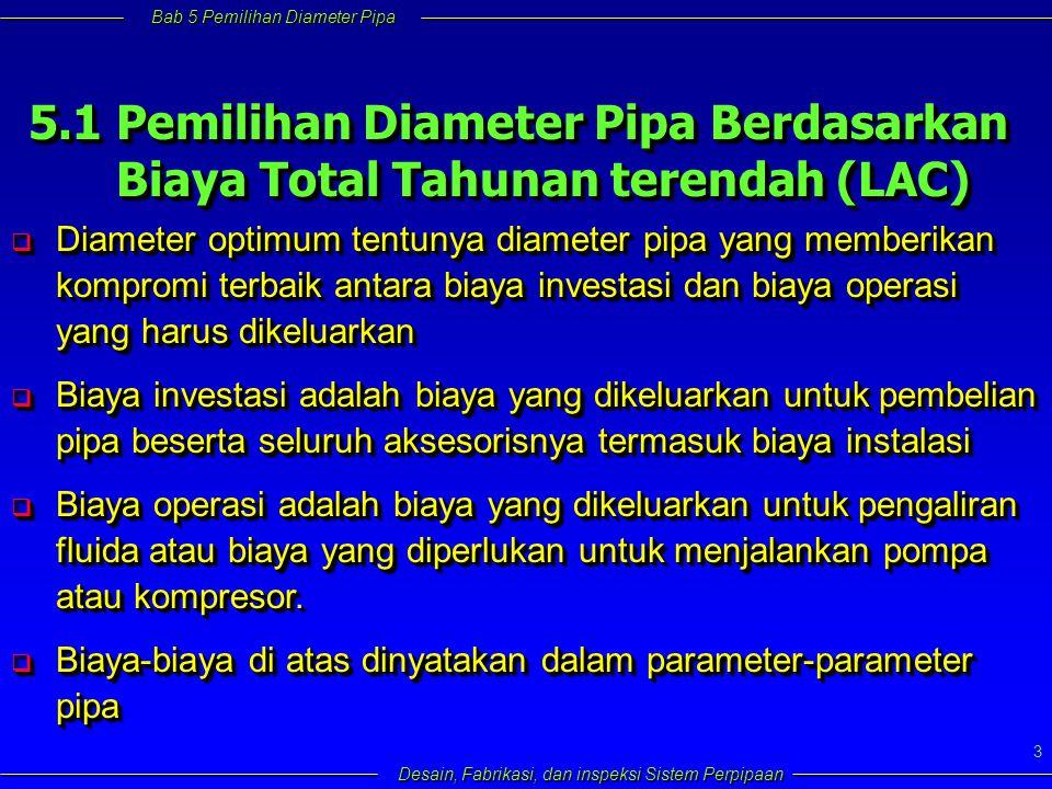 Bab 5 Pemilihan Diameter Pipa Desain, Fabrikasi, dan inspeksi Sistem Perpipaan 3 5.1 Pemilihan Diameter Pipa Berdasarkan Biaya Total Tahunan terendah (LAC) Biaya Total Tahunan terendah (LAC) 5.1 Pemilihan Diameter Pipa Berdasarkan Biaya Total Tahunan terendah (LAC) Biaya Total Tahunan terendah (LAC)  Diameter optimum tentunya diameter pipa yang memberikan kompromi terbaik antara biaya investasi dan biaya operasi yang harus dikeluarkan  Biaya investasi adalah biaya yang dikeluarkan untuk pembelian pipa beserta seluruh aksesorisnya termasuk biaya instalasi  Biaya operasi adalah biaya yang dikeluarkan untuk pengaliran fluida atau biaya yang diperlukan untuk menjalankan pompa atau kompresor.