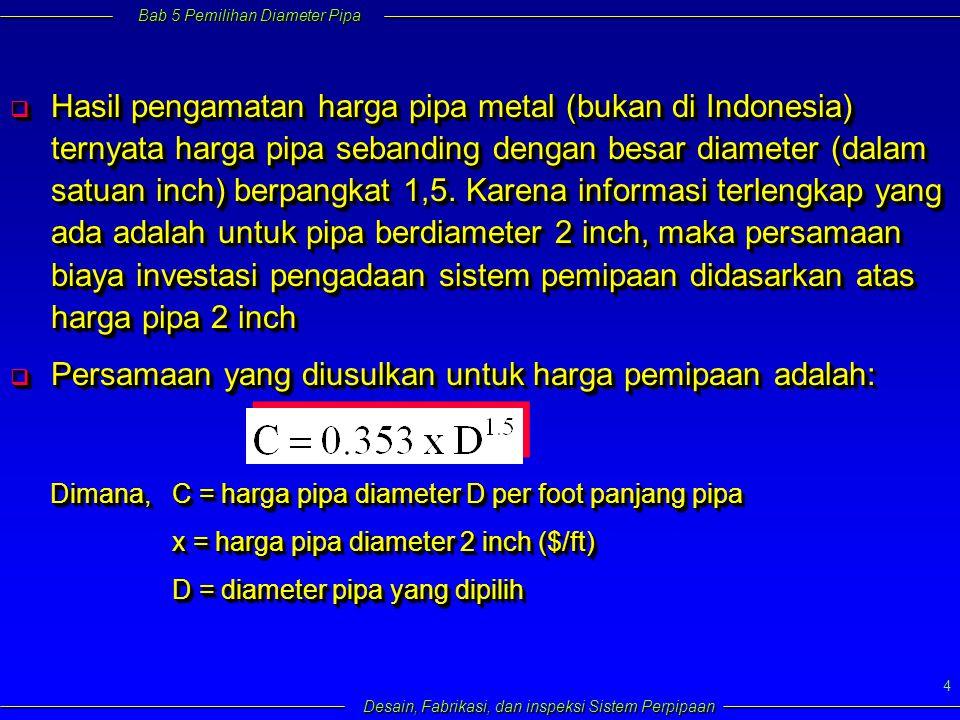 Bab 5 Pemilihan Diameter Pipa Desain, Fabrikasi, dan inspeksi Sistem Perpipaan 4  Hasil pengamatan harga pipa metal (bukan di Indonesia) ternyata harga pipa sebanding dengan besar diameter (dalam satuan inch) berpangkat 1,5.
