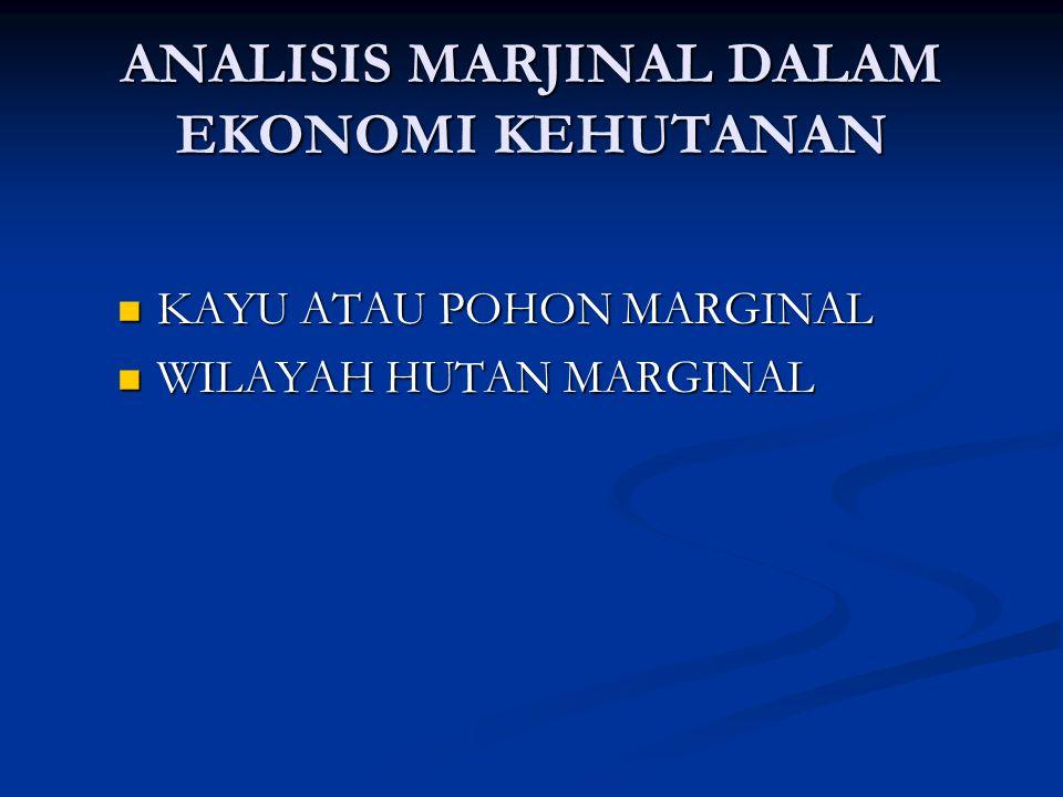 ANALISIS MARJINAL DALAM EKONOMI KEHUTANAN KAYU ATAU POHON MARGINAL KAYU ATAU POHON MARGINAL WILAYAH HUTAN MARGINAL WILAYAH HUTAN MARGINAL
