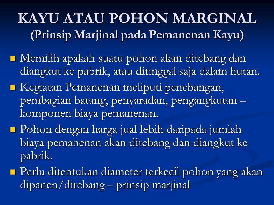 KAYU ATAU POHON MARGINAL (Prinsip Marjinal pada Pemanenan Kayu) Memilih apakah suatu pohon akan ditebang dan diangkut ke pabrik, atau ditinggal saja d
