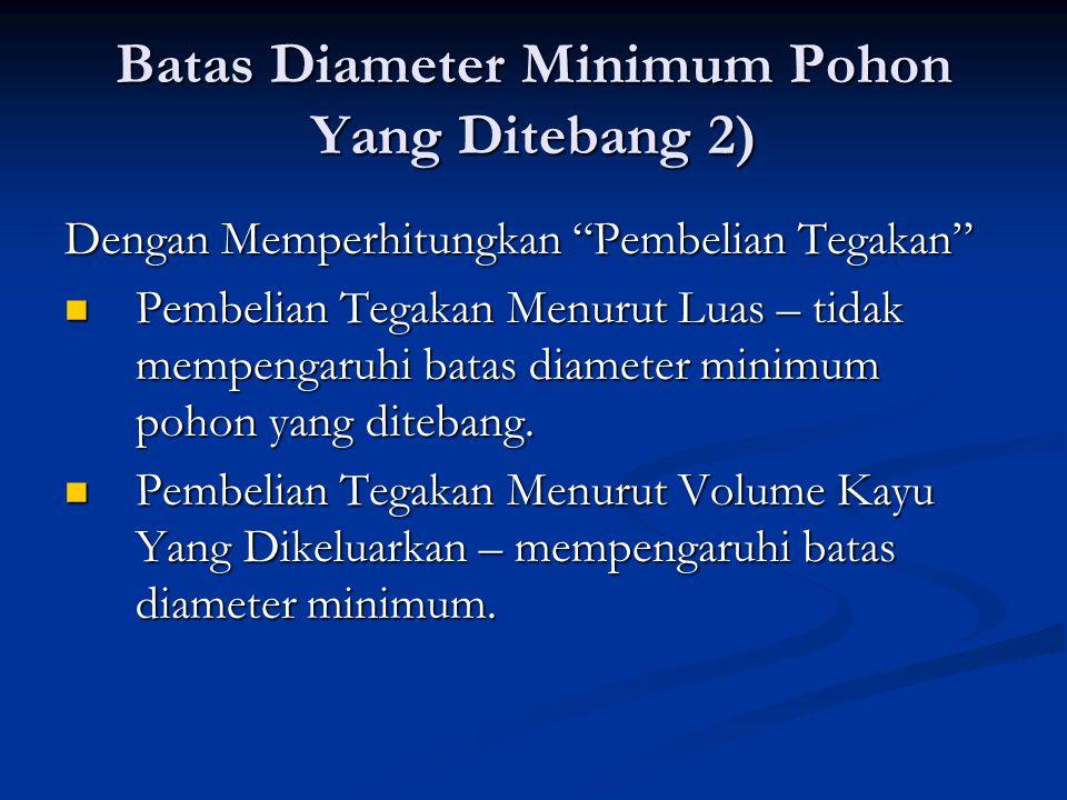 """Batas Diameter Minimum Pohon Yang Ditebang 2) Dengan Memperhitungkan """"Pembelian Tegakan"""" Pembelian Tegakan Menurut Luas – tidak mempengaruhi batas dia"""