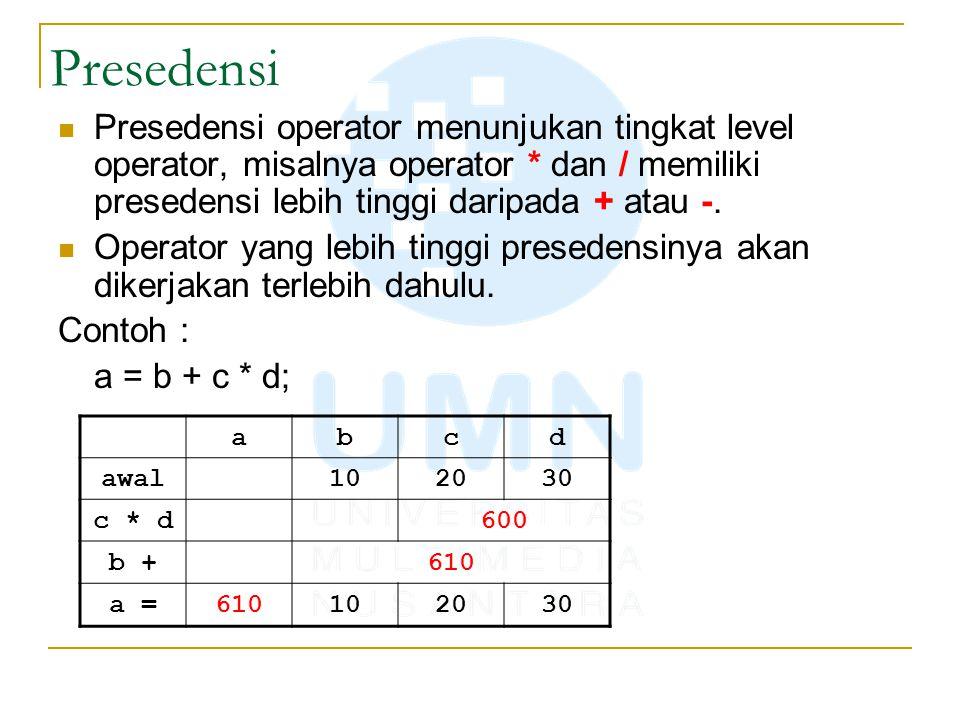 Presedensi Presedensi operator menunjukan tingkat level operator, misalnya operator * dan / memiliki presedensi lebih tinggi daripada + atau -. Operat