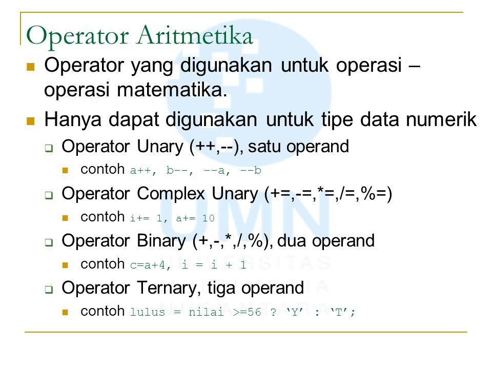 Operator Aritmetika Operator yang digunakan untuk operasi – operasi matematika. Hanya dapat digunakan untuk tipe data numerik  Operator Unary (++,--)