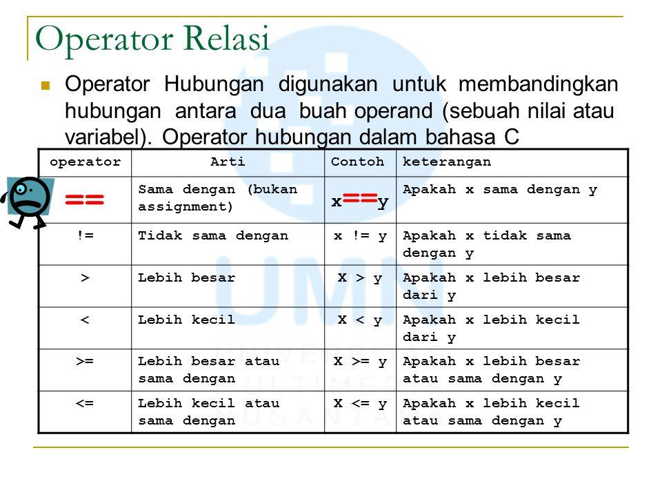Operator Relasi Operator Hubungan digunakan untuk membandingkan hubungan antara dua buah operand (sebuah nilai atau variabel). Operator hubungan dalam
