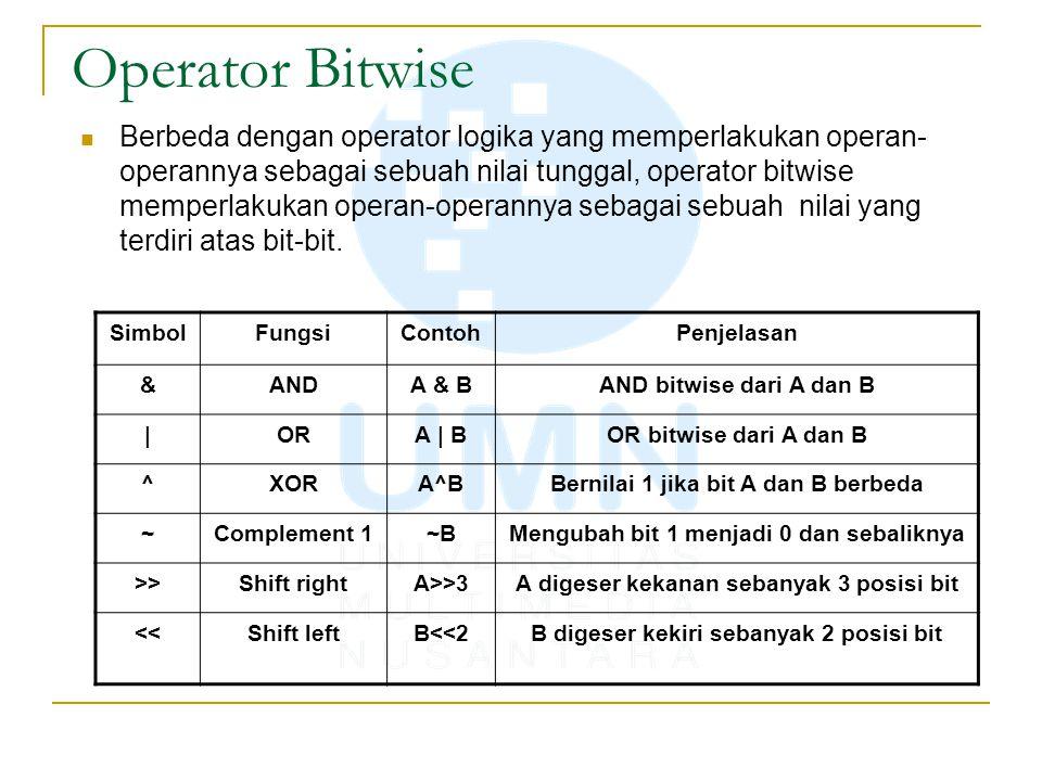 Operator Bitwise Berbeda dengan operator logika yang memperlakukan operan- operannya sebagai sebuah nilai tunggal, operator bitwise memperlakukan operan-operannya sebagai sebuah nilai yang terdiri atas bit-bit.