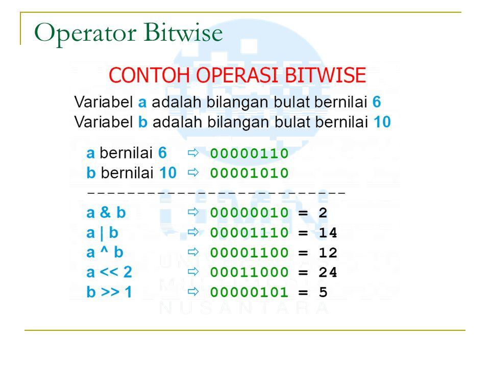 Operator penugasan (assignment) Assignment adalah pemberian suatu nilai kepada variable.