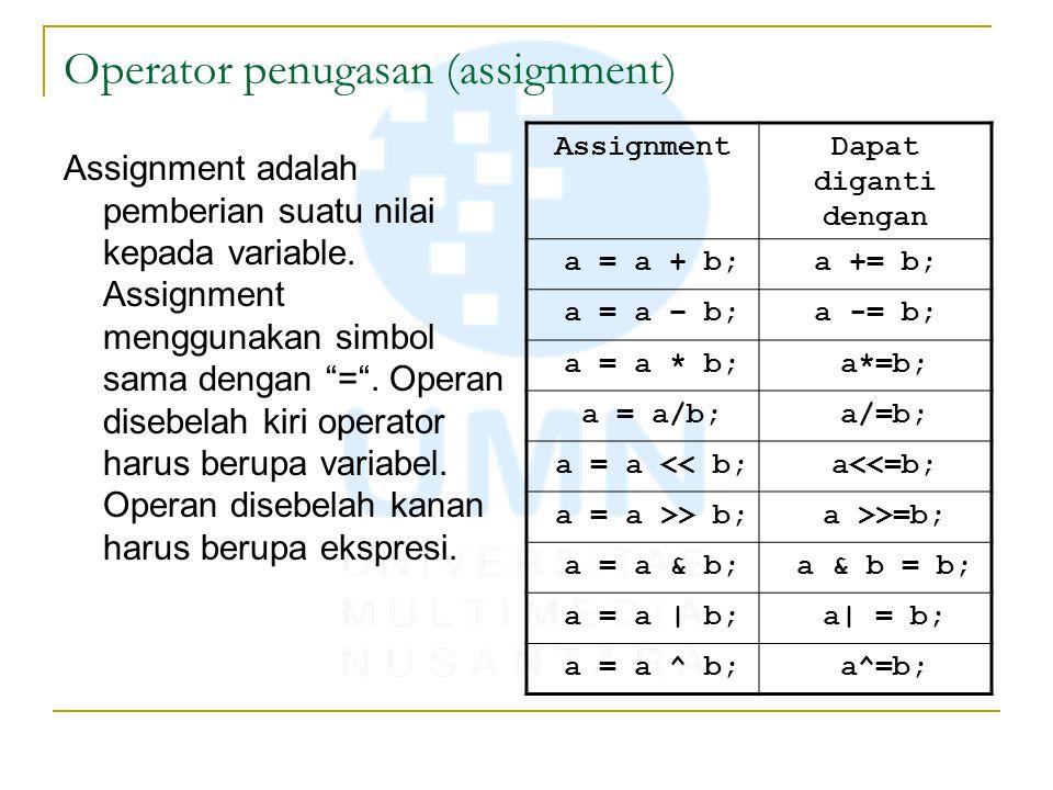 "Operator penugasan (assignment) Assignment adalah pemberian suatu nilai kepada variable. Assignment menggunakan simbol sama dengan ""="". Operan disebel"