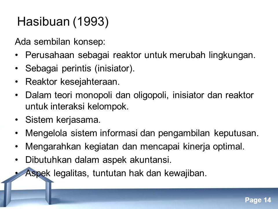 Free Powerpoint Templates Page 14 Hasibuan (1993) Ada sembilan konsep: Perusahaan sebagai reaktor untuk merubah lingkungan.