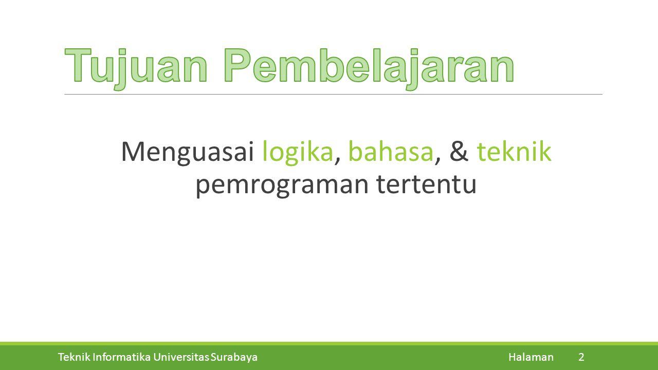 Teknik Informatika Universitas Surabaya Halaman 12 Pertemuan KeHariTanggalMateri 13ASenin09-12-2013Method 13BKamis12-12-2013Method 14ASenin16-12-2013Method 14BKamis19-12-2013Review Materi dan Latihan Soal UAS Minggu 1, Selasa, Jam ke 2 [7 JANUARI 2014]