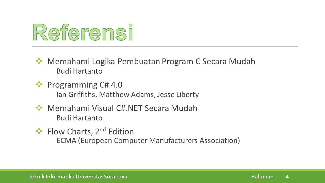 Teknik Informatika Universitas Surabaya Halaman 4  Memahami Logika Pembuatan Program C Secara Mudah Budi Hartanto  Programming C# 4.0 Ian Griffiths,