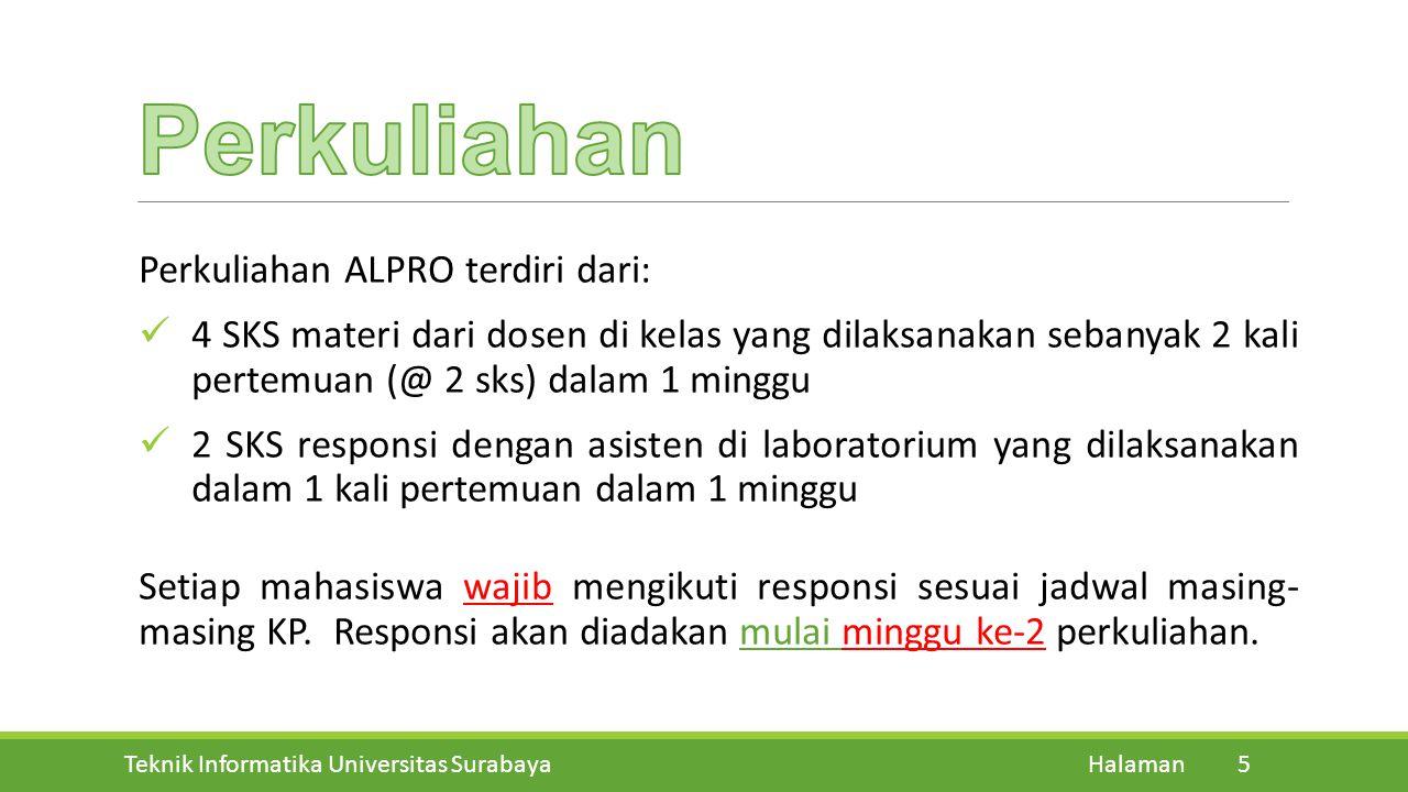 Teknik Informatika Universitas Surabaya Halaman 5 Perkuliahan ALPRO terdiri dari: 4 SKS materi dari dosen di kelas yang dilaksanakan sebanyak 2 kali p
