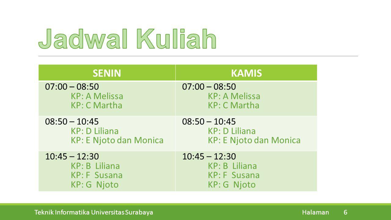 Teknik Informatika Universitas Surabaya Halaman 6 SENINKAMIS 07:00 – 08:50 KP: A Melissa KP: C Martha 07:00 – 08:50 KP: A Melissa KP: C Martha 08:50 –