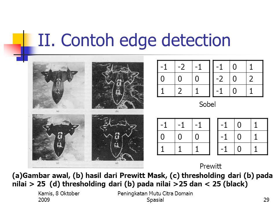Kamis, 8 Oktober 2009 Peningkatan Mutu Citra Domain Spasial29 II. Contoh edge detection -2 000 121 01 -202 01 Sobel 000 111 01 01 01 Prewitt (a)Gambar