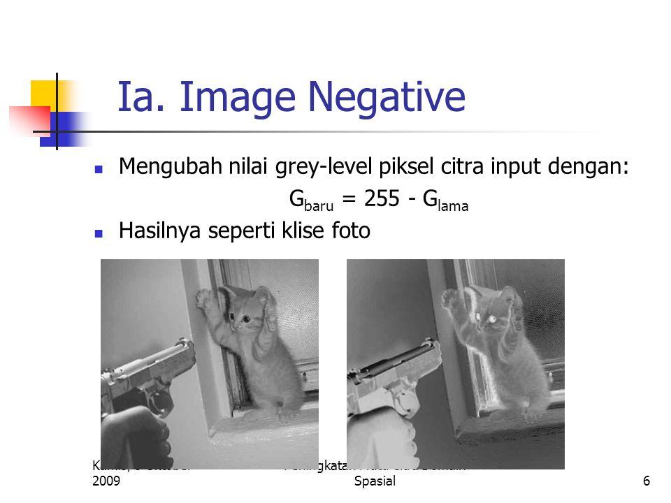 Kamis, 8 Oktober 2009 Peningkatan Mutu Citra Domain Spasial6 Ia. Image Negative Mengubah nilai grey-level piksel citra input dengan: G baru = 255 - G