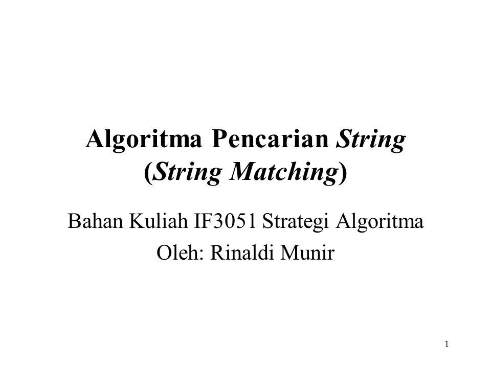 1 Algoritma Pencarian String (String Matching) Bahan Kuliah IF3051 Strategi Algoritma Oleh: Rinaldi Munir