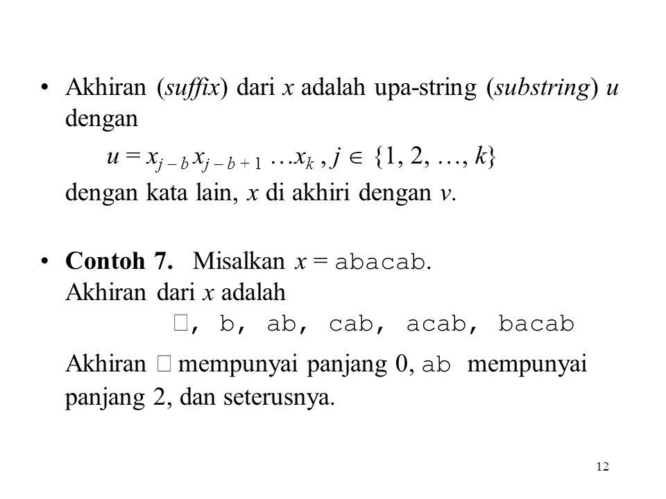 12 Akhiran (suffix) dari x adalah upa-string (substring) u dengan u = x j – b x j – b + 1 …x k, j  {1, 2, …, k} dengan kata lain, x di akhiri dengan
