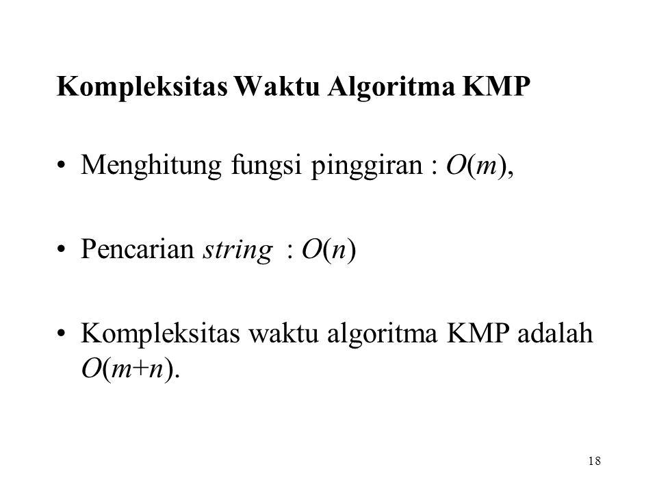 18 Kompleksitas Waktu Algoritma KMP Menghitung fungsi pinggiran : O(m), Pencarian string : O(n) Kompleksitas waktu algoritma KMP adalah O(m+n).