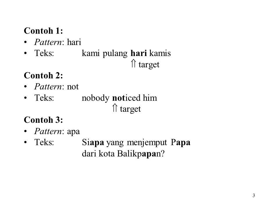 3 Contoh 1: Pattern: hari Teks: kami pulang hari kamis  target Contoh 2: Pattern: not Teks: nobody noticed him  target Contoh 3: Pattern: apa Teks: