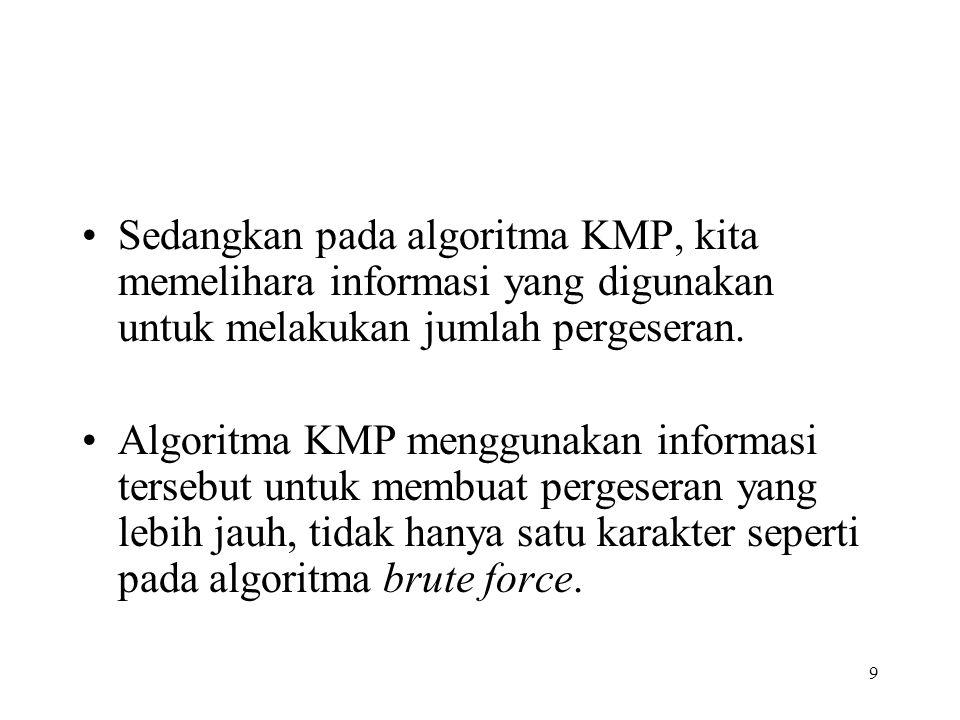9 Sedangkan pada algoritma KMP, kita memelihara informasi yang digunakan untuk melakukan jumlah pergeseran. Algoritma KMP menggunakan informasi terseb