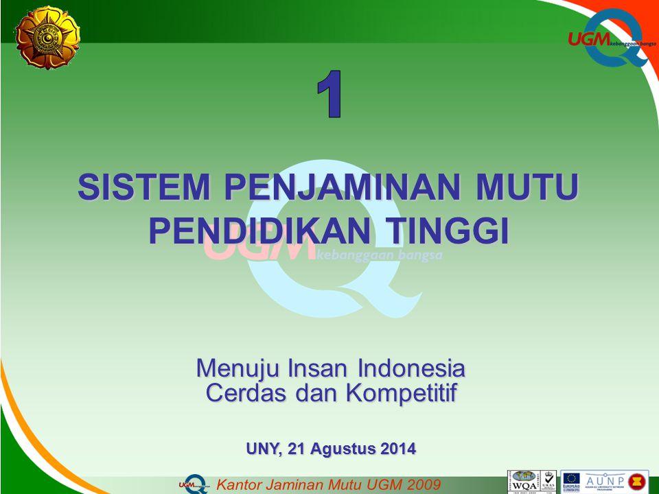 SISTEM PENJAMINAN MUTU PENDIDIKAN TINGGI Menuju Insan Indonesia Cerdas dan Kompetitif UNY, 21 Agustus 2014
