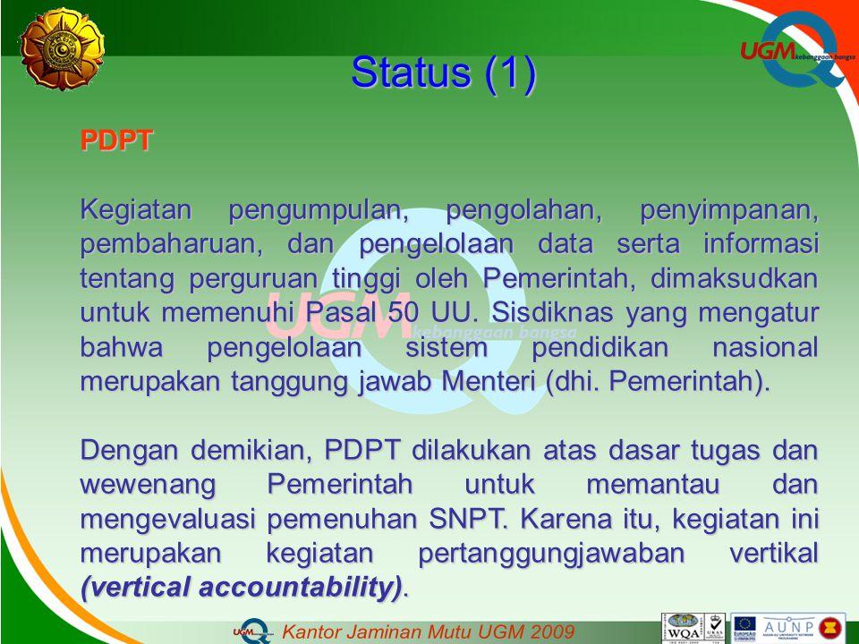 Status (1) PDPT Kegiatan pengumpulan, pengolahan, penyimpanan, pembaharuan, dan pengelolaan data serta informasi tentang perguruan tinggi oleh Pemerin