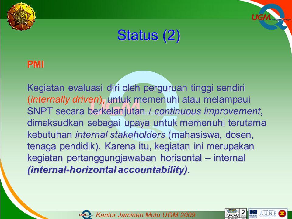 Status (2) PMI Kegiatan evaluasi diri oleh perguruan tinggi sendiri (internally driven), untuk memenuhi atau melampaui SNPT secara berkelanjutan / con