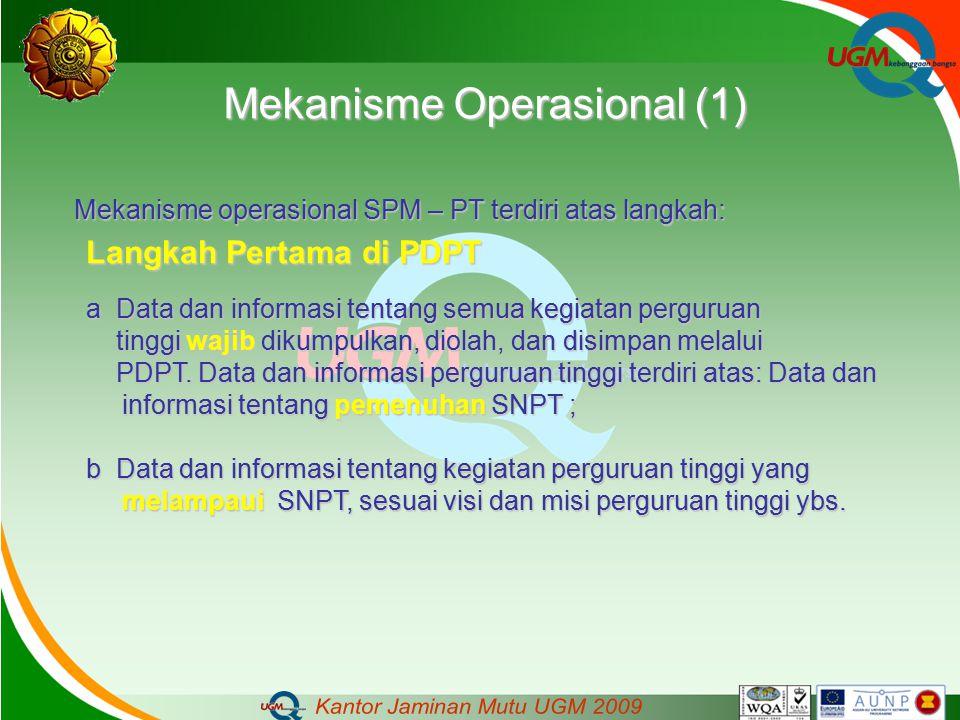 Mekanisme Operasional (1) Mekanisme operasional SPM – PT terdiri atas langkah: Langkah Pertama di PDPT a Data dan informasi tentang semua kegiatan per