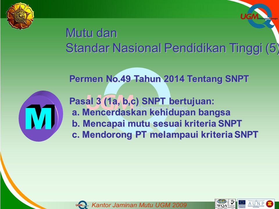 Mutu dan Standar Nasional Pendidikan Tinggi (5) Permen No.49 Tahun 2014 Tentang SNPT Pasal 3 (1a, b,c) SNPT bertujuan: a. Mencerdaskan kehidupan bangs