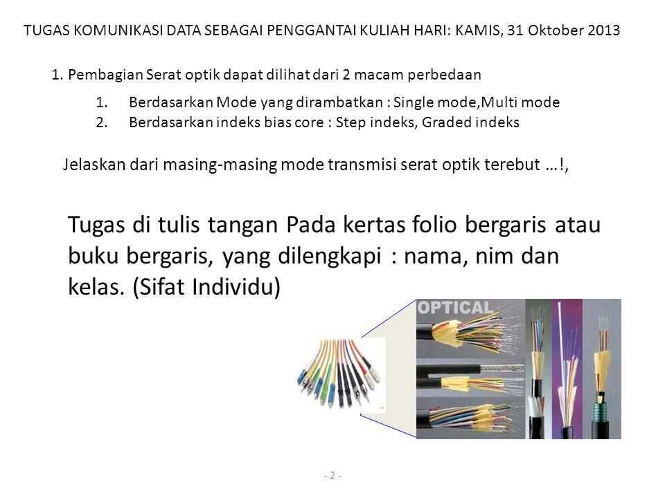 - 2 - TUGAS KOMUNIKASI DATA SEBAGAI PENGGANTAI KULIAH HARI: KAMIS, 31 Oktober 2013 1.