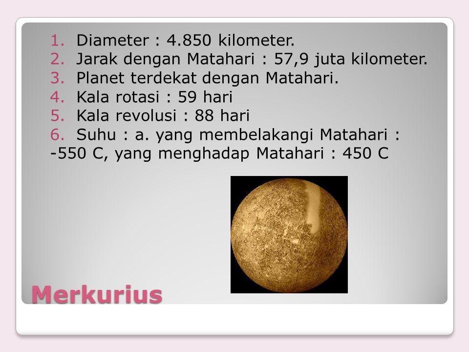 Merkurius 1.Diameter : 4.850 kilometer. 2.Jarak dengan Matahari : 57,9 juta kilometer. 3.Planet terdekat dengan Matahari. 4.Kala rotasi : 59 hari 5.Ka