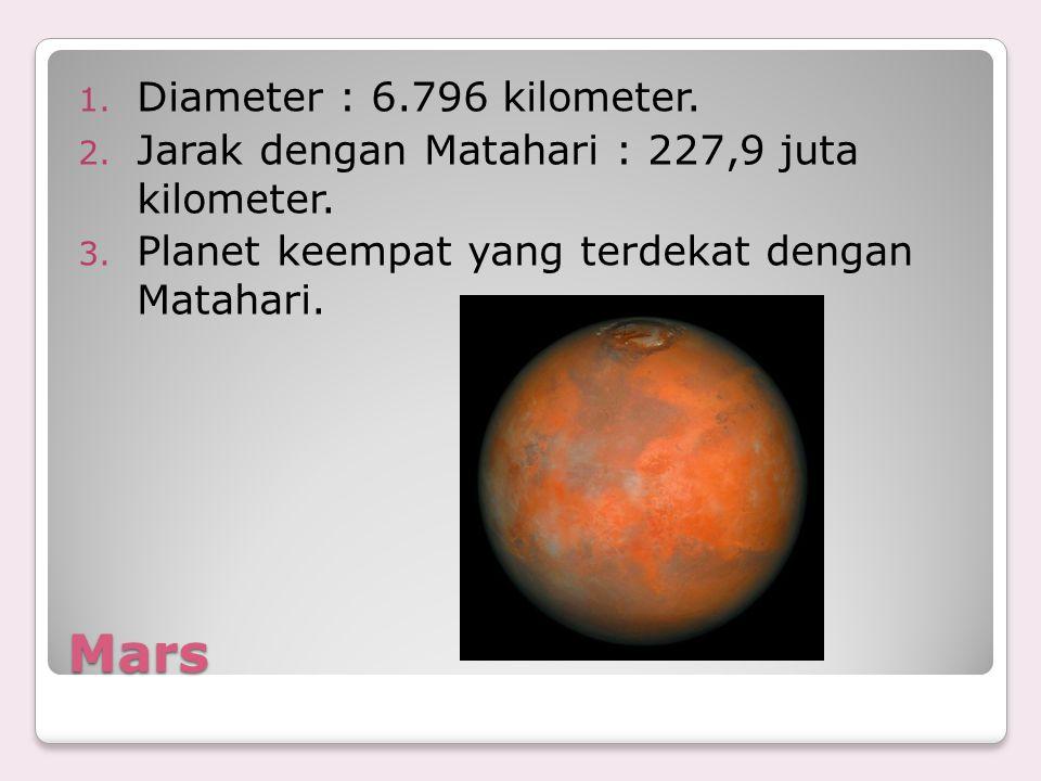 Mars 1. Diameter : 6.796 kilometer. 2. Jarak dengan Matahari : 227,9 juta kilometer. 3. Planet keempat yang terdekat dengan Matahari.