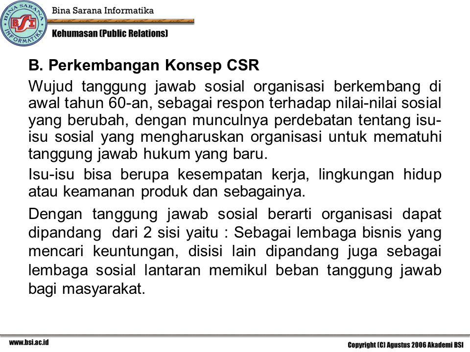 B. Perkembangan Konsep CSR Wujud tanggung jawab sosial organisasi berkembang di awal tahun 60-an, sebagai respon terhadap nilai-nilai sosial yang beru