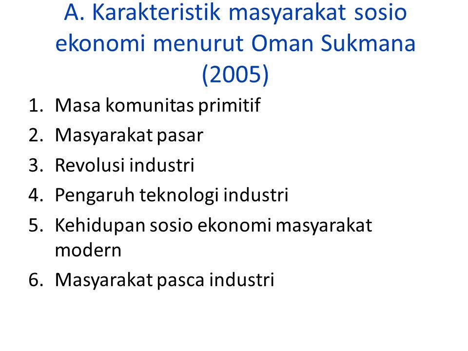A. Karakteristik masyarakat sosio ekonomi menurut Oman Sukmana (2005) 1.Masa komunitas primitif 2.Masyarakat pasar 3.Revolusi industri 4.Pengaruh tekn