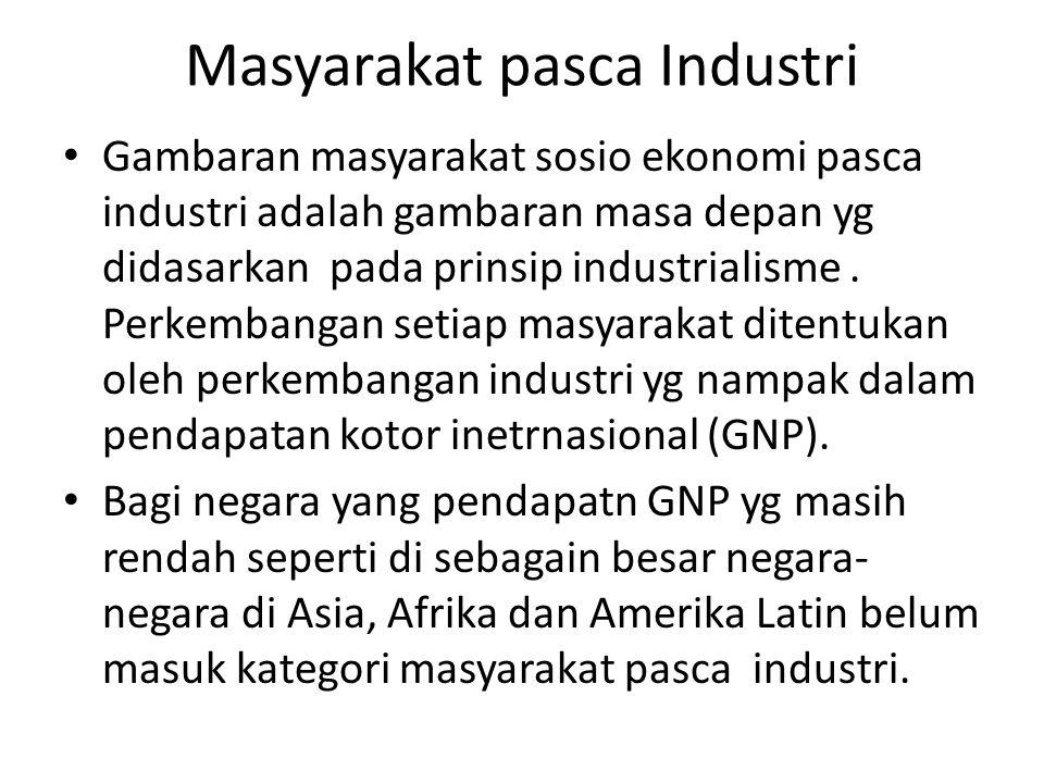 Masyarakat pasca Industri Gambaran masyarakat sosio ekonomi pasca industri adalah gambaran masa depan yg didasarkan pada prinsip industrialisme. Perke