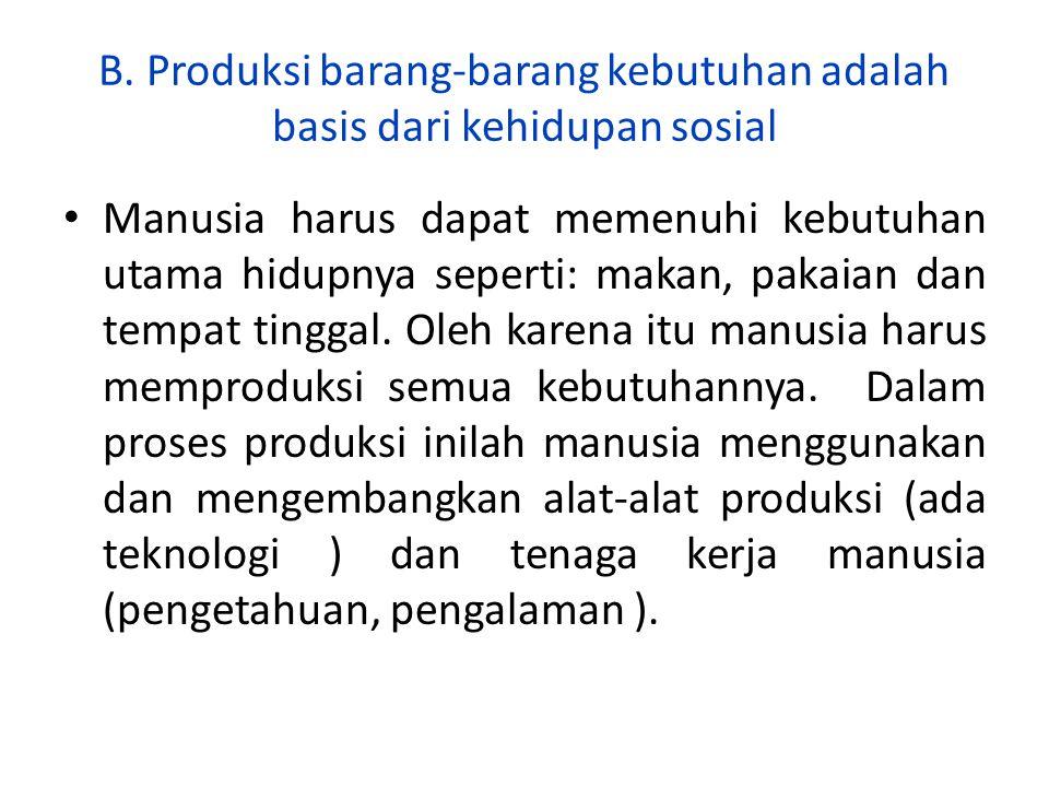 B. Produksi barang-barang kebutuhan adalah basis dari kehidupan sosial Manusia harus dapat memenuhi kebutuhan utama hidupnya seperti: makan, pakaian d