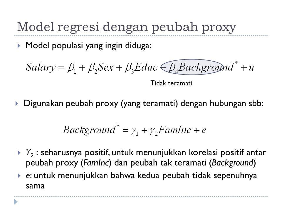 Model regresi dengan peubah proxy  Model populasi yang ingin diduga: Tidak teramati  Digunakan peubah proxy (yang teramati) dengan hubungan sbb:  ϒ 2 : seharusnya positif, untuk menunjukkan korelasi positif antar peubah proxy (FamInc) dan peubah tak teramati (Background)  e: untuk menunjukkan bahwa kedua peubah tidak sepenuhnya sama