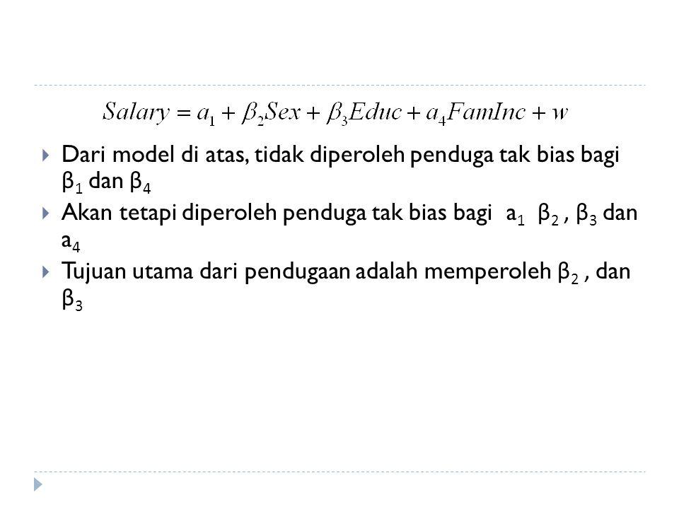  Dari model di atas, tidak diperoleh penduga tak bias bagi β 1 dan β 4  Akan tetapi diperoleh penduga tak bias bagi a 1 β 2, β 3 dan a 4  Tujuan utama dari pendugaan adalah memperoleh β 2, dan β 3