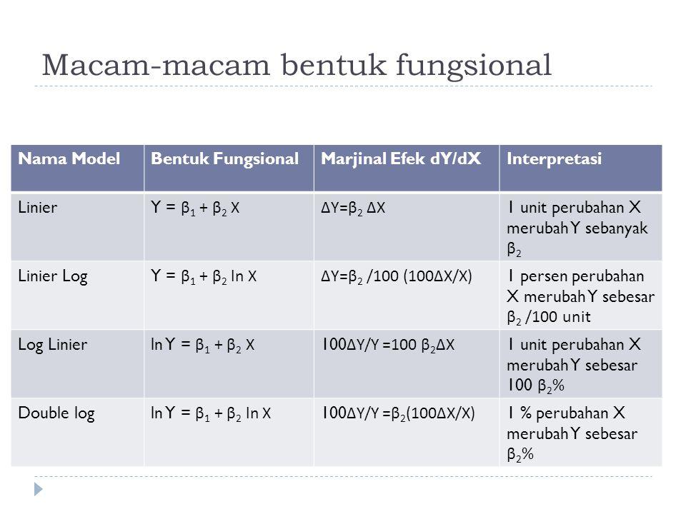 Macam-macam bentuk fungsional Nama ModelBentuk FungsionalMarjinal Efek dY/dXInterpretasi Linier Y = β 1 + β 2 X∆Y=β 2 ∆ X 1 unit perubahan X merubah Y sebanyak β 2 Linier Log Y = β 1 + β 2 ln X∆Y=β 2 /100 (100 ∆ X/X) 1 persen perubahan X merubah Y sebesar β 2 /100 unit Log Linier ln Y = β 1 + β 2 X 100 ∆Y/Y =100 β 2 ∆X 1 unit perubahan X merubah Y sebesar 100 β 2 % Double log ln Y = β 1 + β 2 ln X 100 ∆Y/Y =β 2 (100∆X/X) 1 % perubahan X merubah Y sebesar β 2 %