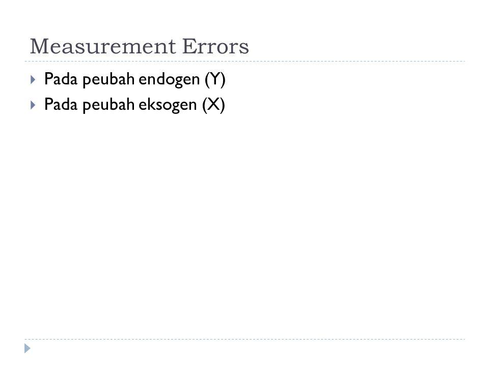 Measurement Errors  Pada peubah endogen (Y)  Pada peubah eksogen (X)