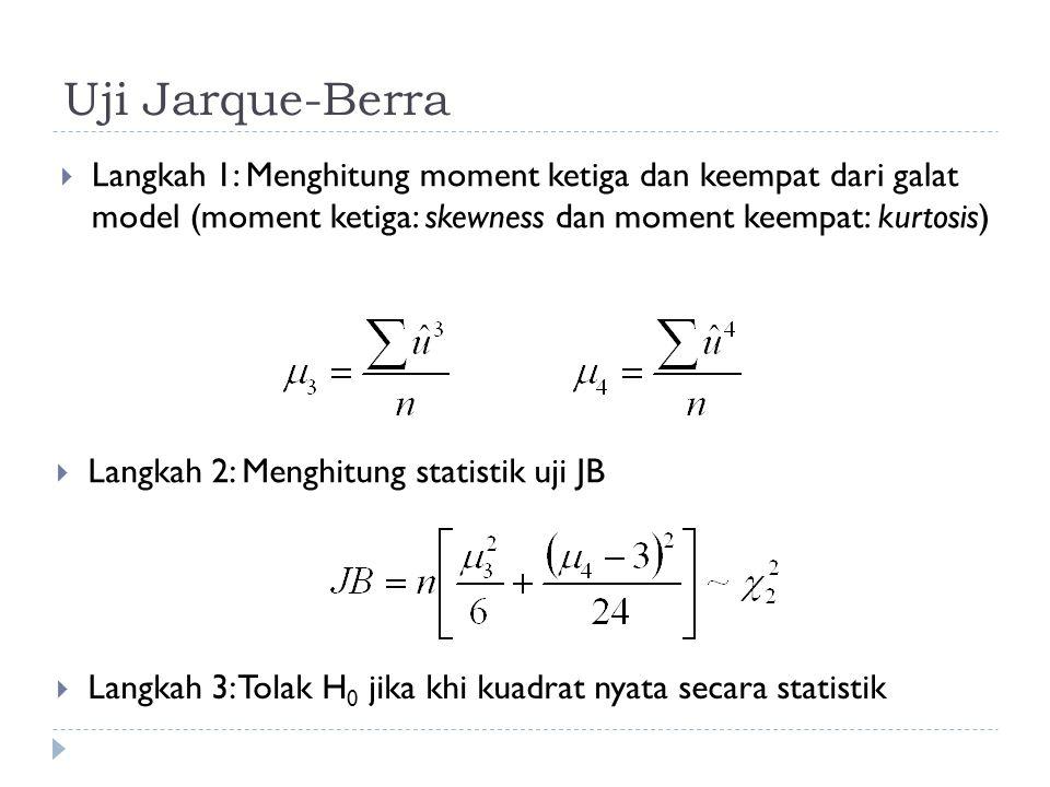 Uji Jarque-Berra  Langkah 1: Menghitung moment ketiga dan keempat dari galat model (moment ketiga: skewness dan moment keempat: kurtosis)  Langkah 2: Menghitung statistik uji JB  Langkah 3: Tolak H 0 jika khi kuadrat nyata secara statistik