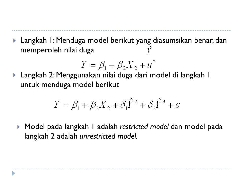  Langkah 1: Menduga model berikut yang diasumsikan benar, dan memperoleh nilai duga  Langkah 2: Menggunakan nilai duga dari model di langkah 1 untuk menduga model berikut  Model pada langkah 1 adalah restricted model dan model pada langkah 2 adalah unrestricted model.