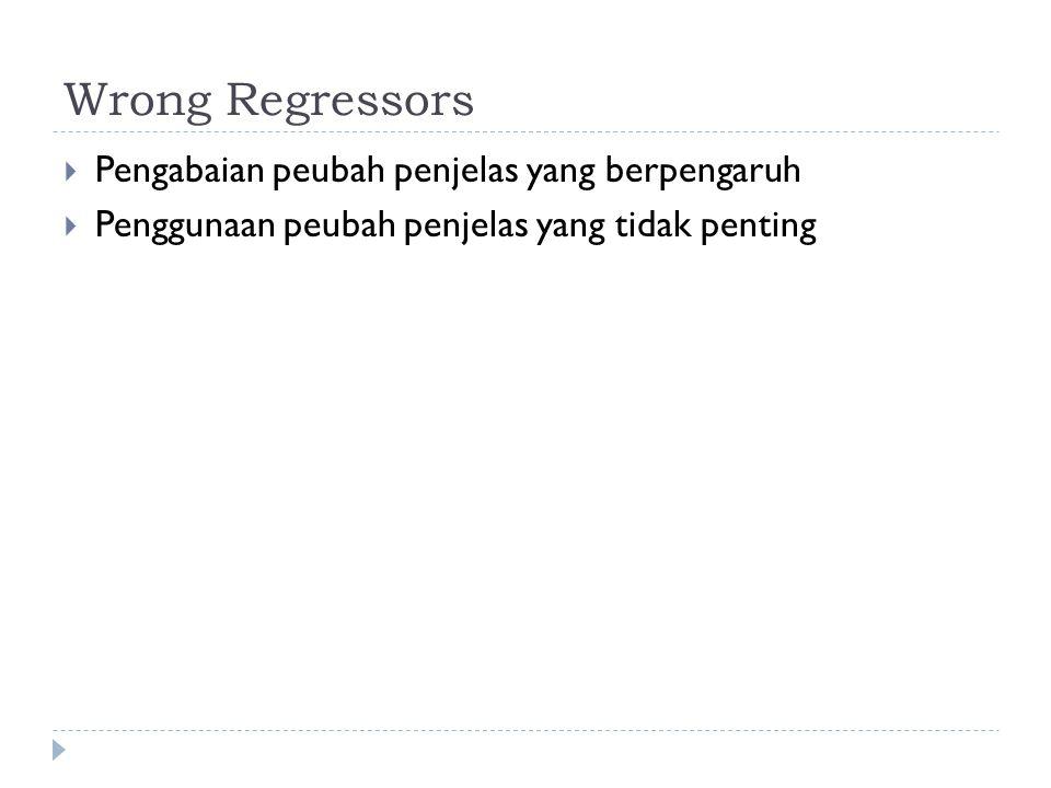 Wrong Regressors  Pengabaian peubah penjelas yang berpengaruh  Penggunaan peubah penjelas yang tidak penting