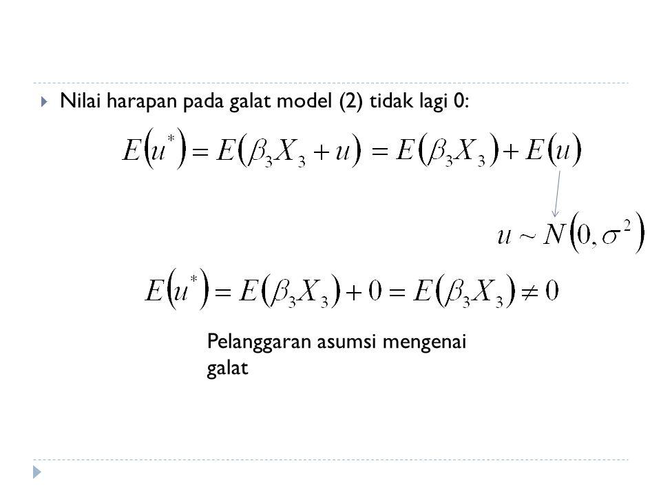  Nilai harapan pada galat model (2) tidak lagi 0: Pelanggaran asumsi mengenai galat