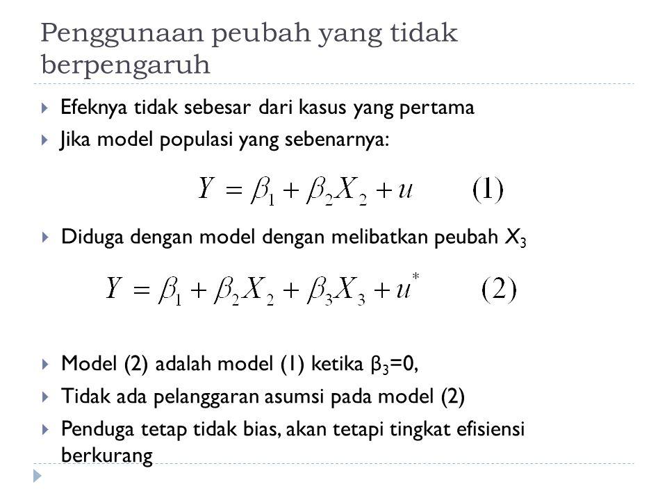 Penggunaan peubah yang tidak berpengaruh  Efeknya tidak sebesar dari kasus yang pertama  Jika model populasi yang sebenarnya:  Diduga dengan model dengan melibatkan peubah X 3  Model (2) adalah model (1) ketika β 3 =0,  Tidak ada pelanggaran asumsi pada model (2)  Penduga tetap tidak bias, akan tetapi tingkat efisiensi berkurang