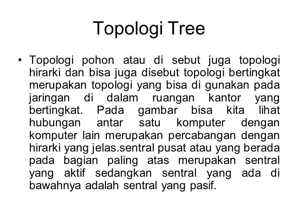Topologi Tree Topologi pohon atau di sebut juga topologi hirarki dan bisa juga disebut topologi bertingkat merupakan topologi yang bisa di gunakan pada jaringan di dalam ruangan kantor yang bertingkat.