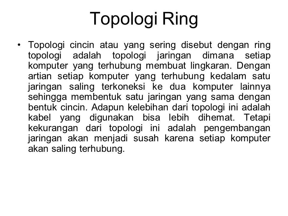 Topologi Ring Topologi cincin atau yang sering disebut dengan ring topologi adalah topologi jaringan dimana setiap komputer yang terhubung membuat lingkaran.