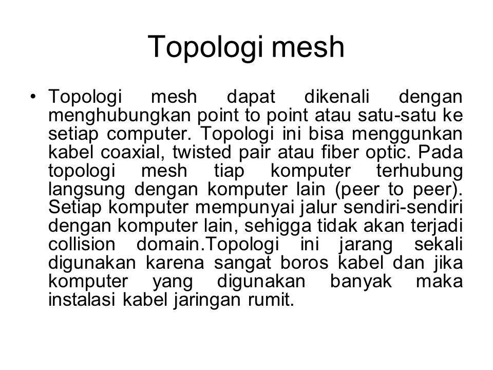 Topologi mesh Topologi mesh dapat dikenali dengan menghubungkan point to point atau satu-satu ke setiap computer.