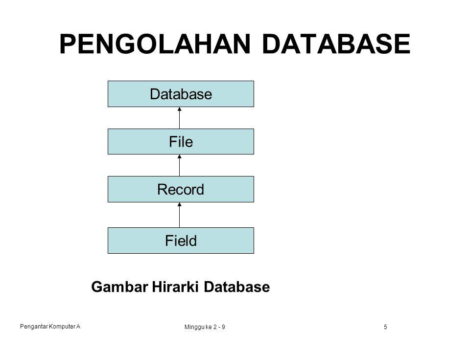 Pengantar Komputer A Minggu ke 2 - 95 PENGOLAHAN DATABASE Database File Record Field Gambar Hirarki Database