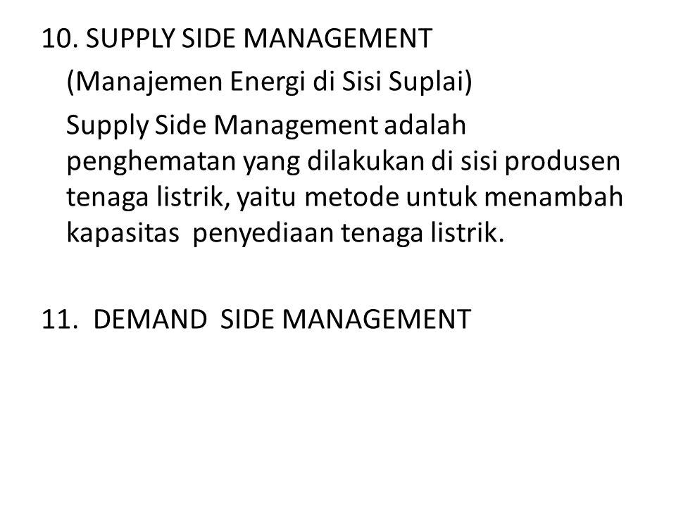 (Manajemen Energi di Sisi Suplai) Supply Side Management adalah penghematan yang dilakukan di sisi produsen tenaga listrik, yaitu metode untuk menamba