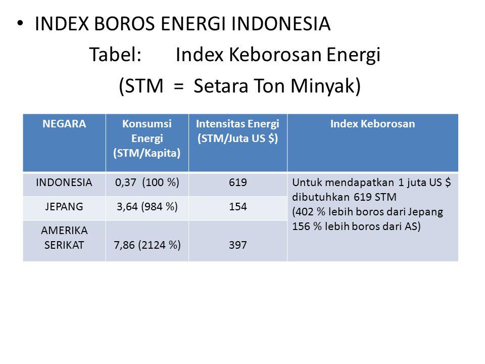 INDEX BOROS ENERGI INDONESIA Tabel: Index Keborosan Energi (STM = Setara Ton Minyak) NEGARAKonsumsi Energi (STM/Kapita) Intensitas Energi (STM/Juta US